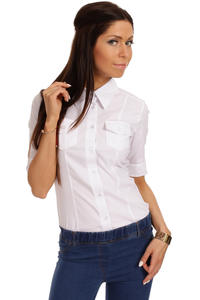 Slim Fit Seam Collared White Shirt with Flap Chest Pocket