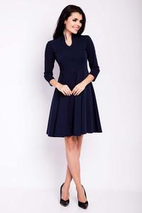 Dark Blue Blue V-Neckline Flared Dress
