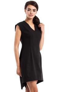Black Dipped Hem Sleeveless Mini Dress
