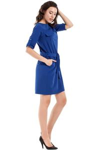 Cornflower Blue Casual Rolled-up Sleeves Mini Dress