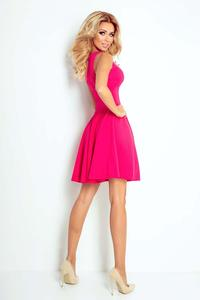 Raspberry Pink Sleeveless Coctail Dress with Light Pleats