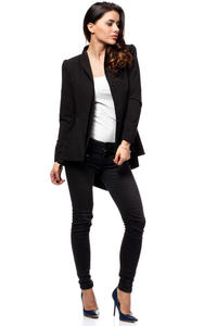 Black Seam Blazer with Cascading Back Hemline
