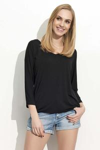 Black 3/4 Sleeves Simple Blouse