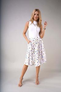 Flared Midi Skirt with a frill - Colorful Spots