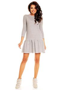 Grey Long Sleeves Sporty Smock Dress
