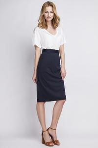 Dark Blue Pencli High Waist Midi Skirt
