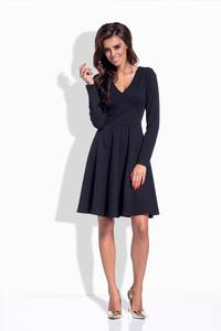 Black V-Neckline Flared Dress