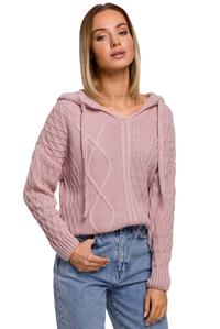 Practical Sweater with Drawstrings and Hood (Pink)