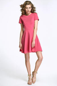 Fuchsia Flared Mini Dress with Cut out Sides