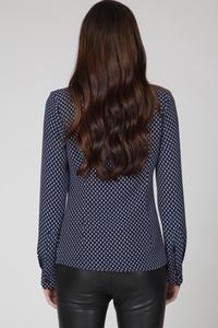 Dark Blue Delicate Pattern Ladies Office Blouse