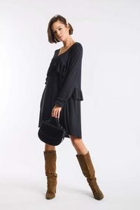 Black Knitted Dress with Asymmetrical Frill
