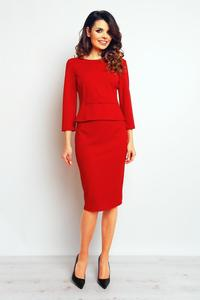Red Elegant Pencil Midi Skirt