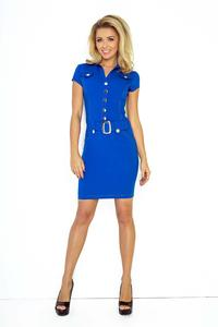 Blue Buttons Closure Belted Dress
