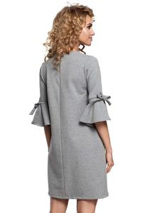 Grey Flared Dress with Bow on The Sleeves
