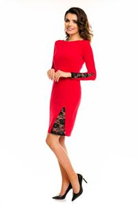Red Bodycon Dress with Lace Details