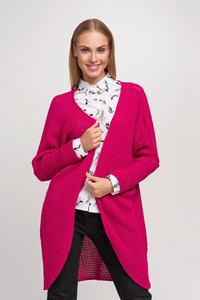 Dark Pink Raglan Sleeves Loose Cardigan