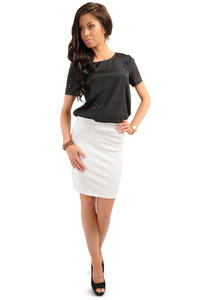 Ecru Bodycon Pencil Mini Skirt