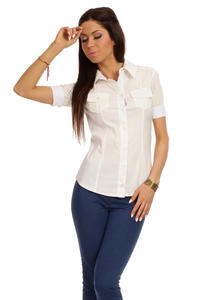 Slim Fit Seam Collared Ecru Shirt with Flap Chest Pocket