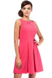 Pink Sleeveless Pleated Round Neckline Dress