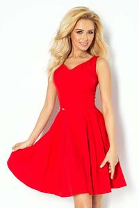Red Elegant Dress Flared on Wide Straps