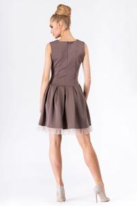 Cappuccino Party Prom Mini Dress with Tulle Frill