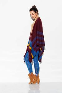 Stylish Patterned Poncho with stripes