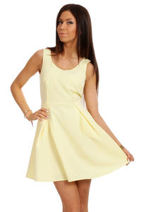 Lemon Yellow Sleeveless Pleated Korean Flippy Dress