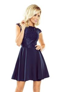 Navy Blue Coctail Dress with Lace Top
