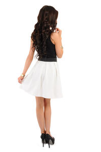 Deep Pleat Short Ecru Skirt