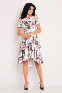 Roses Pattern Asymetrical Cut Out Shoulders Dress
