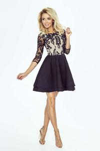 Black Flared Dress With Guipure