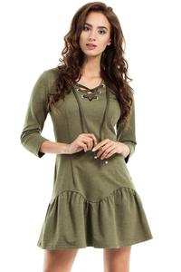 Khaki Lace-up Neckline Dress