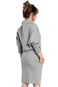 Grey Casual Dress with Wide Tourtleneck