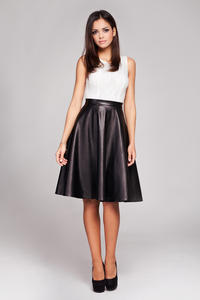 Black Leather Flared Knee Length Skirt