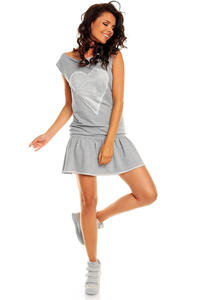 Grey Teen Heart Smock Hip Dress