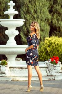 Navy Blue Dress Drawn in Colorful Flowers