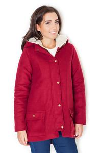 Red Winter Hooded Snaps Closure Parka Jacket