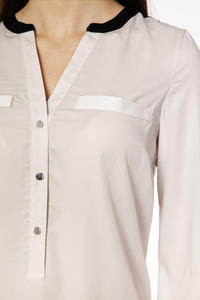 Beige Elegant Shirt with Contrasting Collar