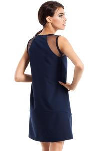 Dark Blue Sleeveless Transparent Details Mini Dress