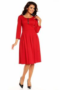 Red Pleated Flippy Dress with Contrast Neckline Details