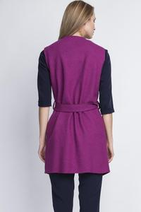 Purple Sleeveless Vest Jacket with Belt