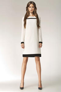 Ecru Stylish Sunken Office Shift Dress