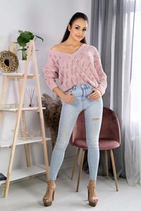 Openwork sweater with a V-neckline - Powder