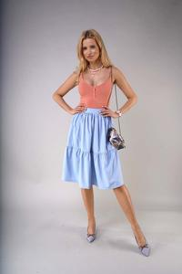 Flared Midi Skirt with a frill - Blue