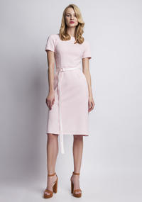 Pink Classic Short Sleeves Midi Dress Belted