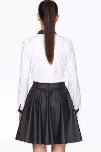 Black Delicate Pleats Flared Skirt
