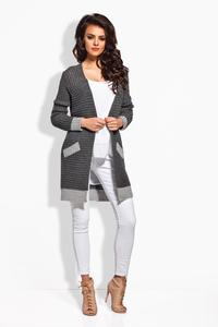 Dark Grey Long Cardigan with Contrasting Details