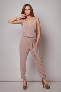 Wrap Around Sleeveless Beige Jumpsuit with Shirred Waist