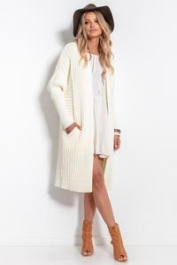 Ecru Long Ribbed Cardigan without Clasp