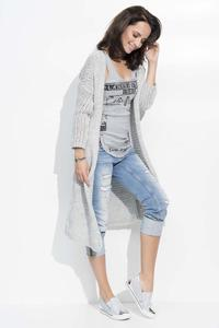 Light Grey Long Loose Lapels Cardigan